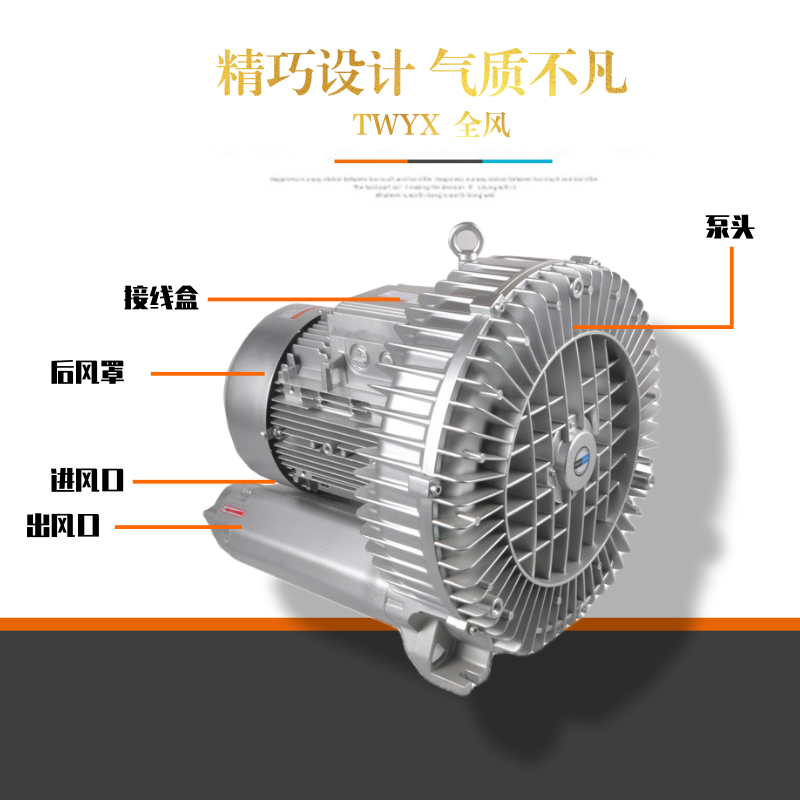 大型高压风机批发 多级高压不锈钢风机 4kw双叶轮高压鼓风机示例图3