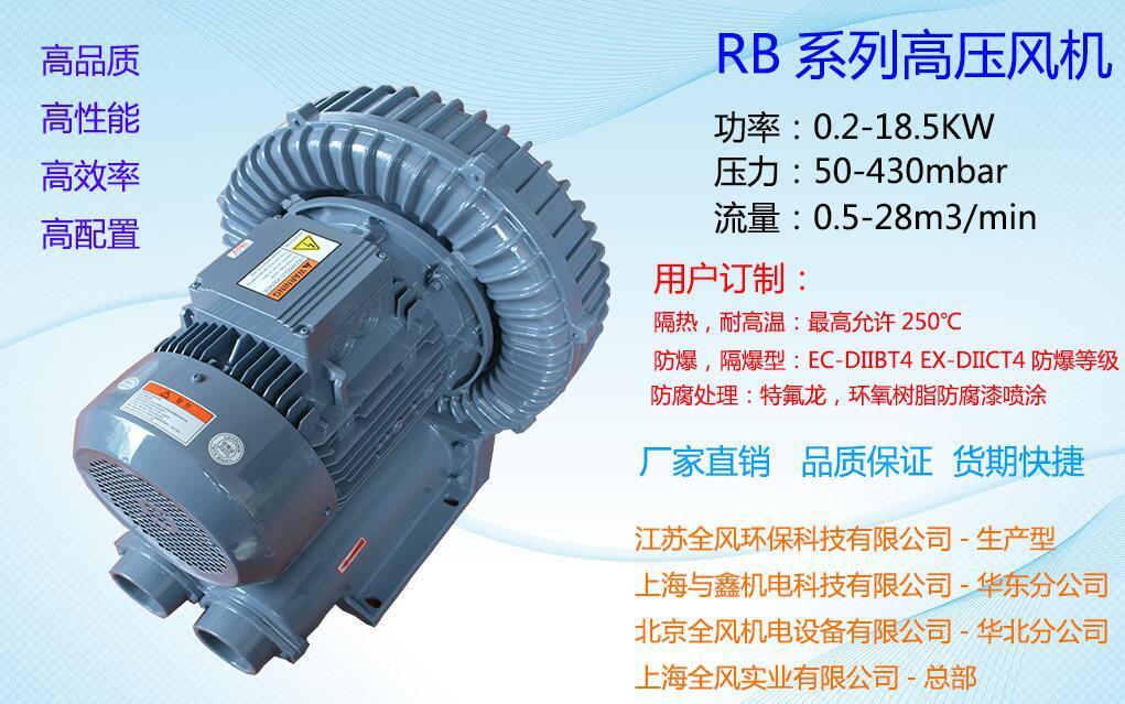 雕刻机高压风机 切割机吸附用漩涡气泵 吸料高压鼓风机 送料高压风机示例图2