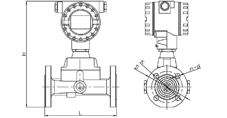 旋进旋涡气体流量计产品外形尺寸